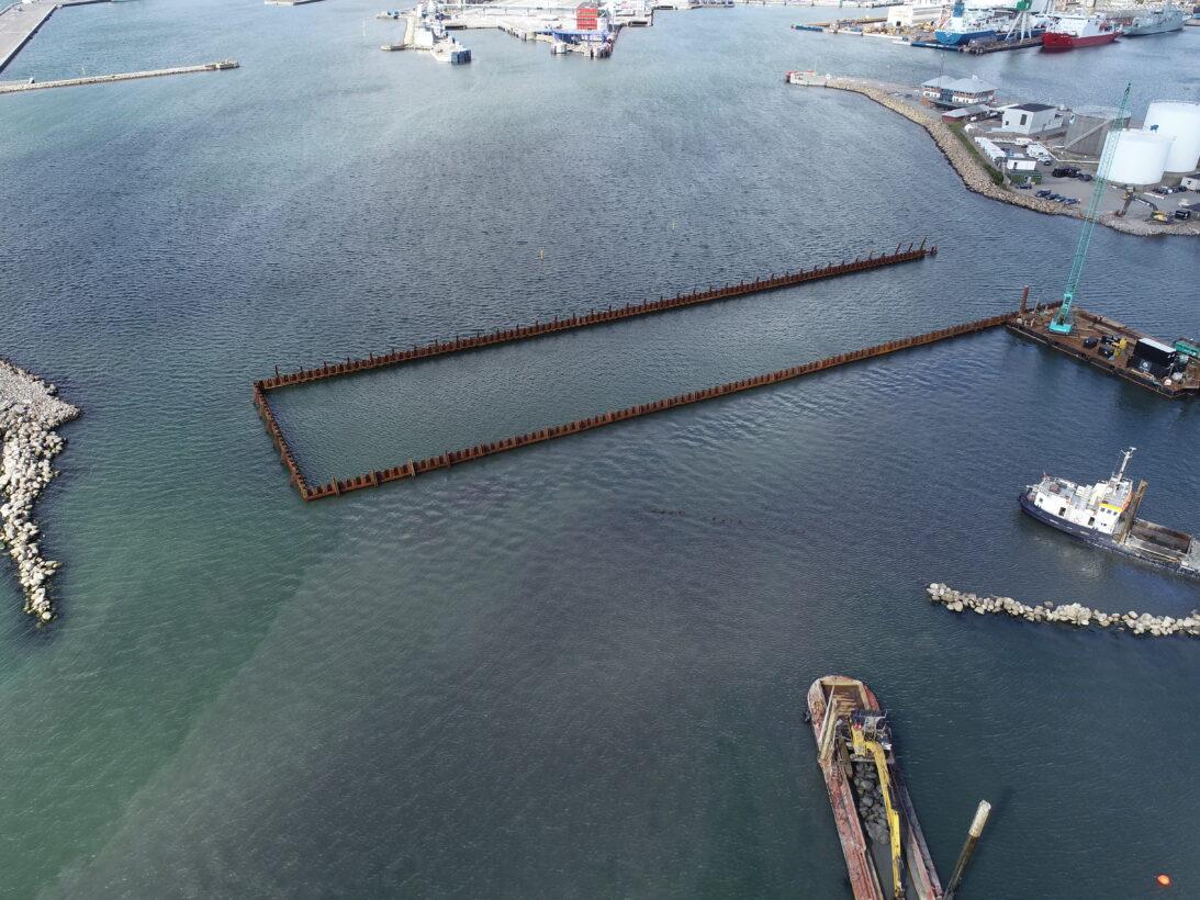CG Jensen, Frederikshavn, Havn, udvidelse, ramning, vandbygning, anlæg vest, havnebyggeri, byggeplads